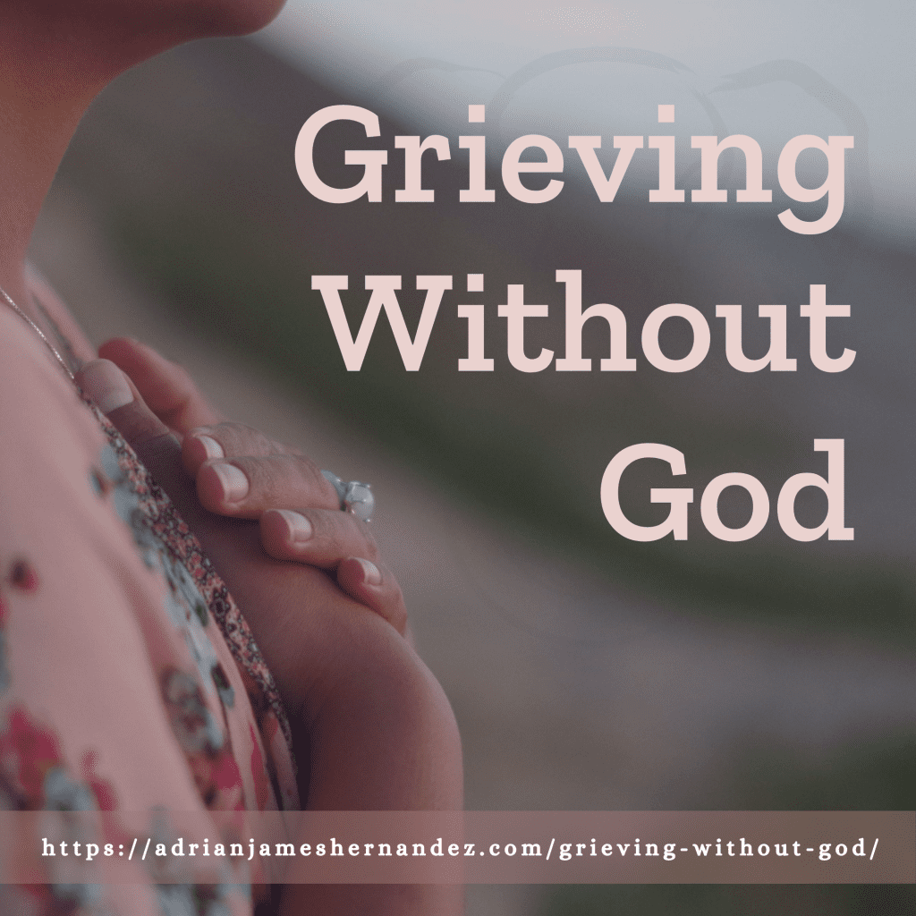 Title: Grieving Without God | overlaid on image of Miranda on the California coast (Synch Media)