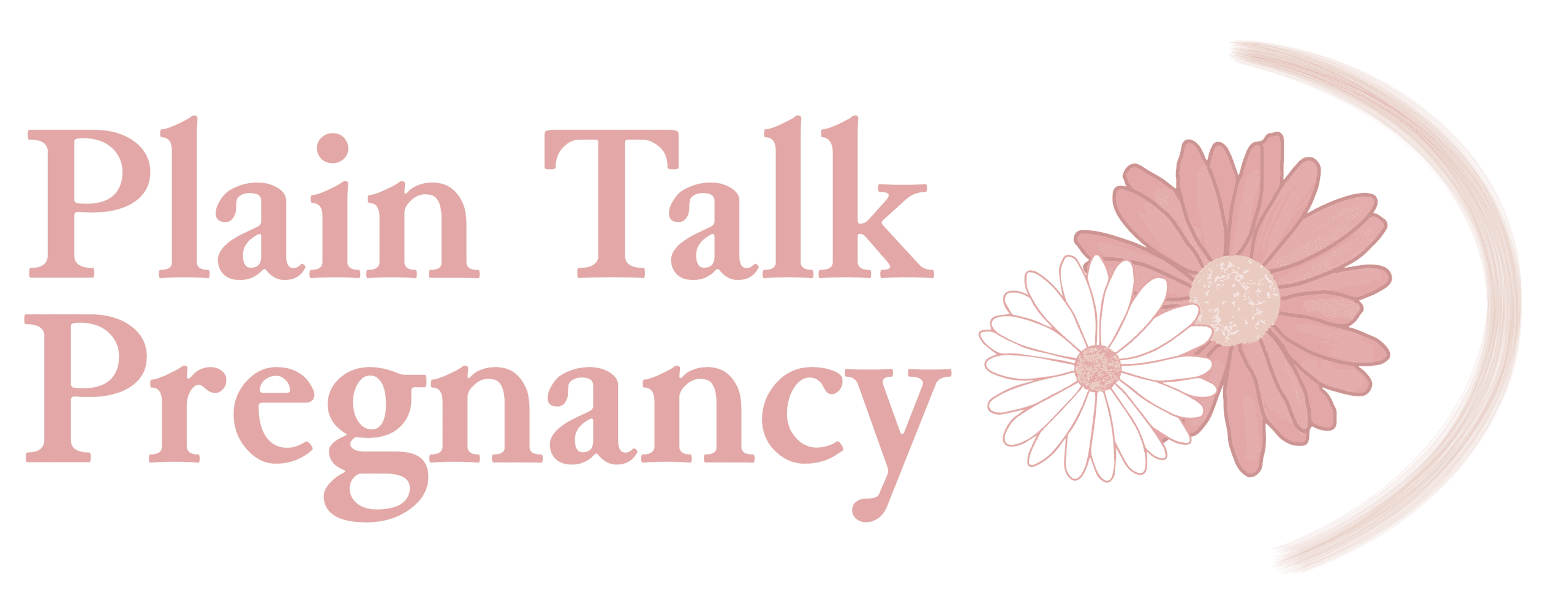 Plain Talk Pregnancy Logo in medium pink with two daisies