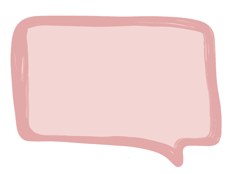 Messy speech bubble with light pink center and dark pink outline