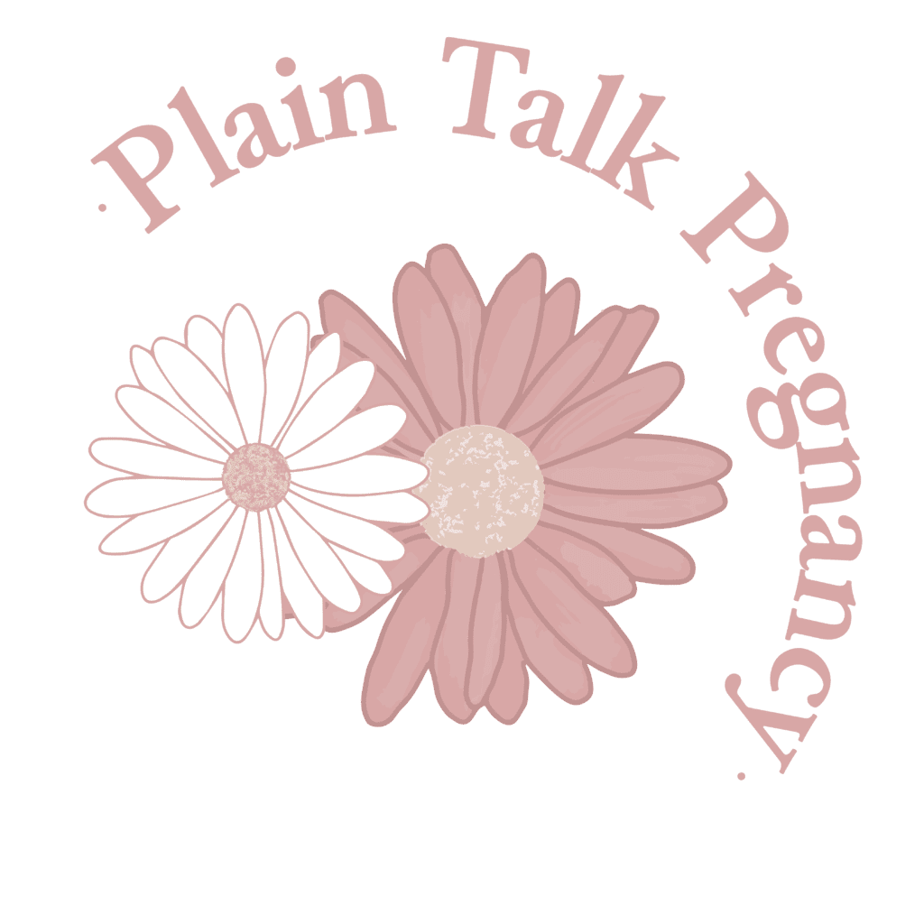 """Plain Talk Pregnancy icon: One small white daisy nestled into a larger pink daisy, with the words """"Plain Talk Pregnancy"""" wrapped around in a curve from top left to bottom right"""