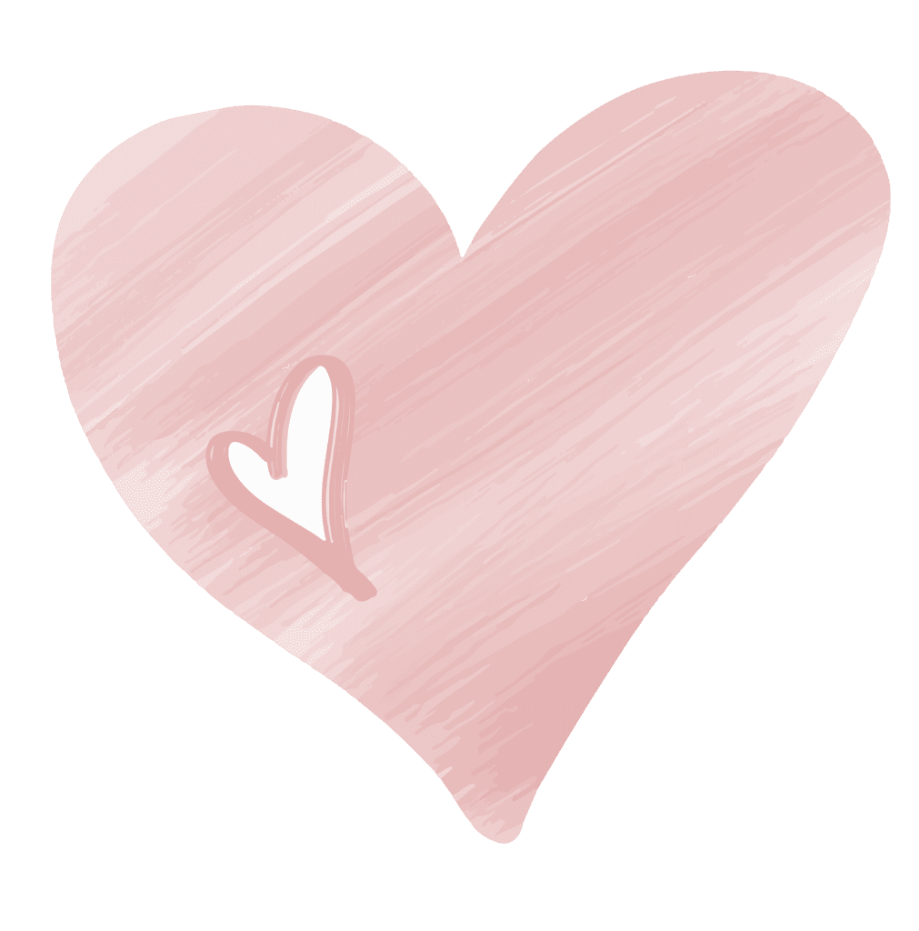 Big pink heart with smaller white heart nested inside it to the left. The pink heart has a diagonal texture with lighter white lines