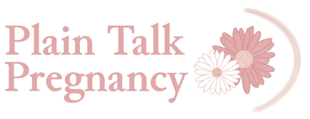 """Plain Talk Pregnancy primary logo: """"Plain Talk Pregnancy"""" in dark pink next to two daisies. There is a smaller white daisy nestled into a larger dark pink daisy, with a mauve curve stretching around them mimicking a pregnant belly"""